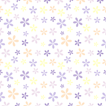 spring summer: Seamless vector pattern. Background with elements of colorful flowers  over light backdrop