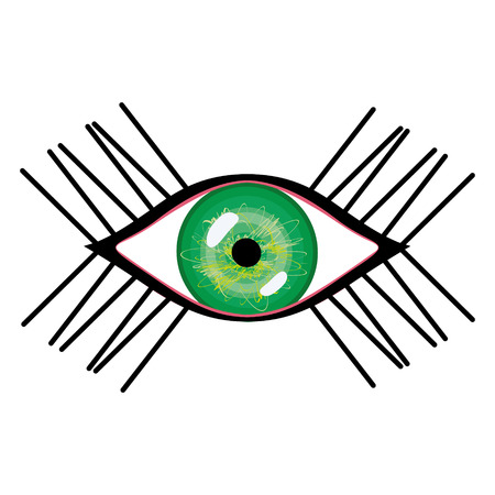 green eye: Vector illustration of human eye with eyelashes. Stylized female green eye with glares