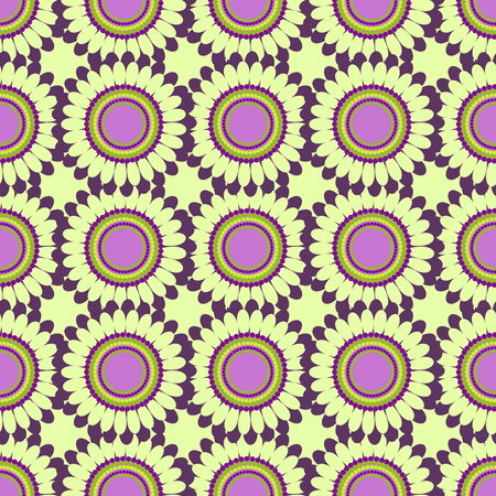 symmetrical: Seamless floral vector pattern, symmetrical background with colorful flowers