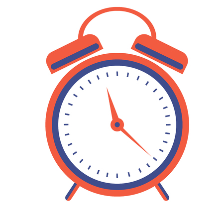 awakening: illustration of red alarm clock, isolated on the white background