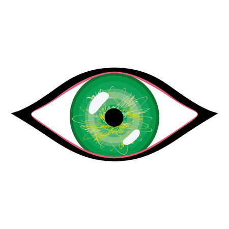 green eye: illustration of human eye with eyelashes. Stylized green eye with glares