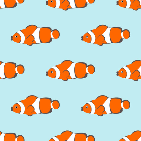 mere: Seamless vector pattern with orange fishes on the blue background