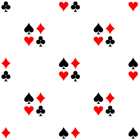 Seamless vector pattern. Symmetrical background with red and black icons of game cards, on the white backdrop Illustration