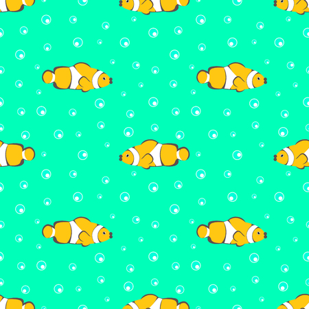 mere: Seamless vector pattern with yellow fishes and bubbles on the green background Illustration