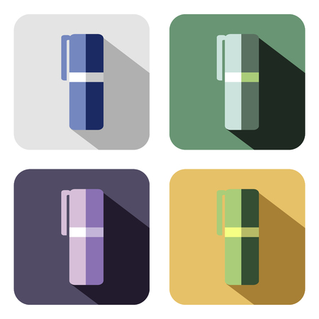 felt: Vector icon. Set of colorful icons of felt pen, isolated on the white background