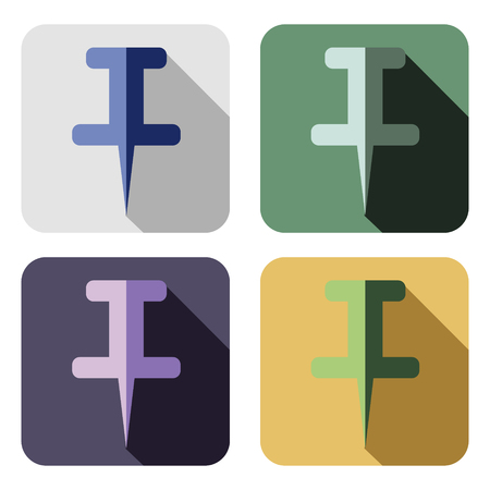 chancellery: Vector icon. Set of colorful icons of pin, isolated on the white background