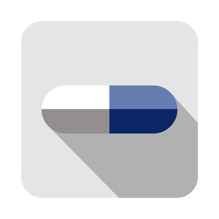 pastille: Vector square icon of pill, isolated on the white background