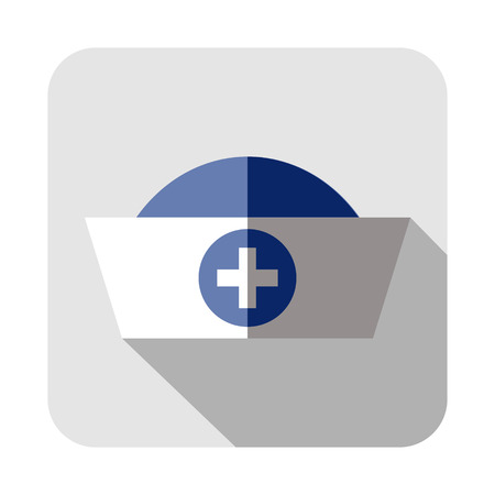 nursing clothes: Vector square icon of medical cap, isolated on the white background
