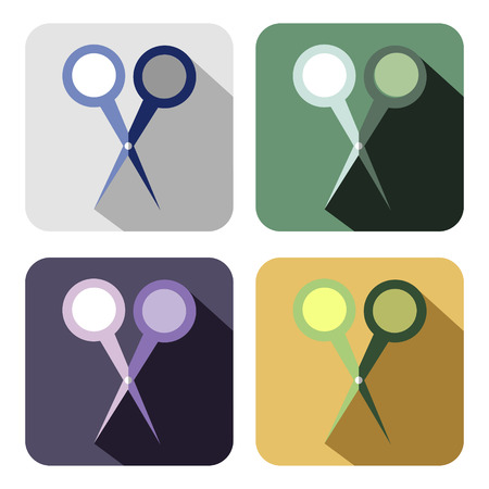 Vector icon. Set of colorful icons of scissor, isolated on the white background Illustration
