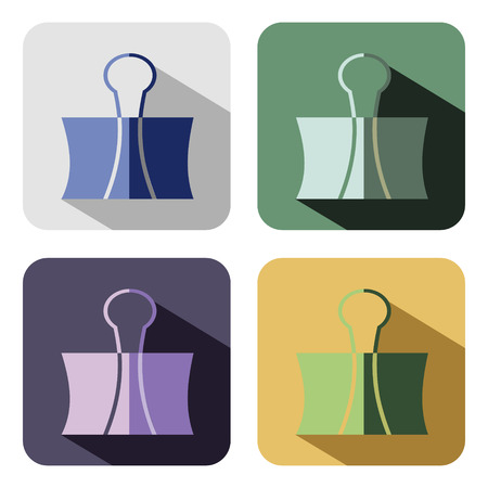 paper clip: Vector icon. Set of colorful icons of paper clip, isolated on the white background Illustration
