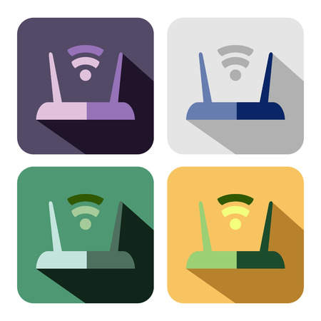 Vector icon. Set of colorful icons of router, isolated on the white background Illustration
