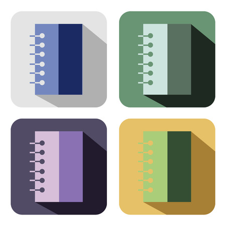 scratchpad: Vector icon. Set of colorful icons of notebooks, isolated on the white background Illustration