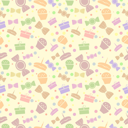 exhilaration: Seamless vector pattern. Chaotic pastel background with colorful sweets and gifts on the light yellow backdrop