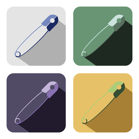 chancellery: Vector icon. Set of colorful icons of pins, isolated on the white background