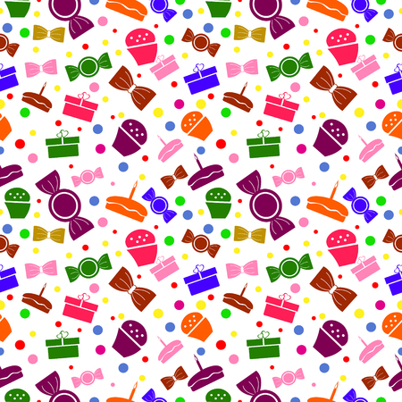 exhilaration: Seamless vector pattern. Chaotic bright background with colorful sweets and gifts on the white backdrop