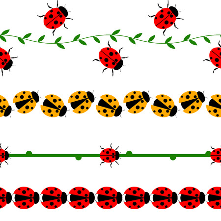 catarina caricatura: línea sin fisuras con los insectos. Conjunto de elementos para el diseño, las fronteras con mariquitas, ramas y hojas, aislados en el fondo blanco.