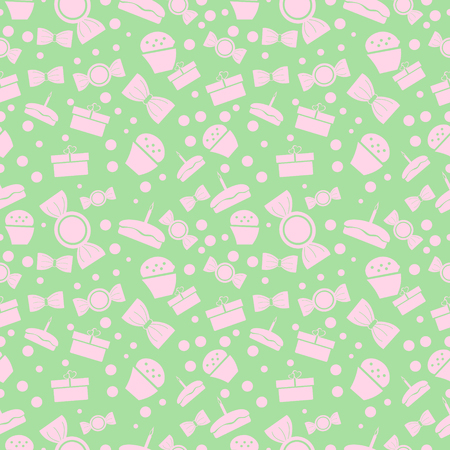 Seamless vector pattern. Chaotic pastel background with pink sweets and gifts on the green backdrop Illustration