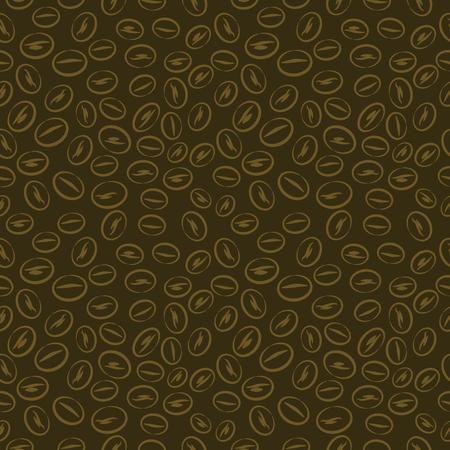 dark brown background: Seamless vector pattern, dark brown background with coffee beans