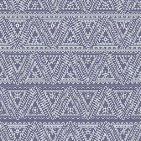 Seamless vector pattern. Symmetrical geometric background with triangles on the blue backdrop. Decorative ornament.