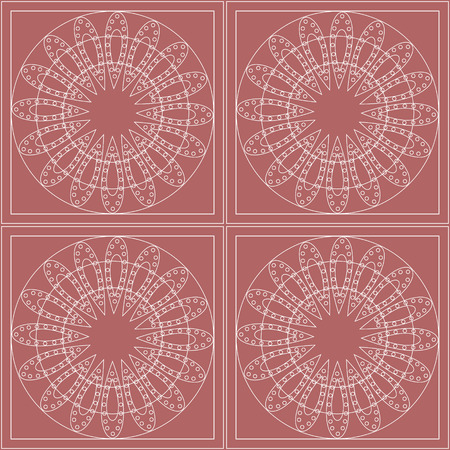 pink backdrop: Seamless vector pattern. Symmetrical geometric background with circles on the pink backdrop. Decorative ornament.