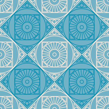 Naadloze vector patroon. Symmetrische geometrische achtergrond met ruit en cirkels op de blauwe achtergrond. Decoratief herhalen ornament.