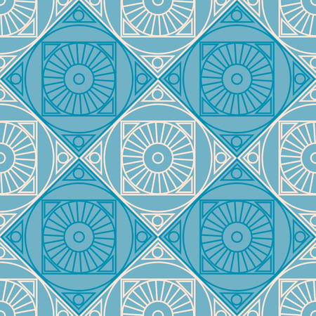 colorful geometric shape: Seamless vector pattern. Symmetrical geometric background with rhombus and circles on the blue backdrop. Decorative repeating ornament.
