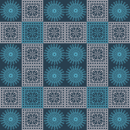 Seamless vector pattern. Symmetrical geometric background with blue and light pink squares and circles on dark blue backdrop. Decorative ornament.
