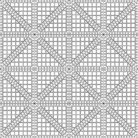 Seamless vector pattern. Symmetrical geometric black and white background with rhombus. Decorative repeating ornament.