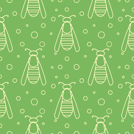 wasps: Seamless vector pattern with insects, symmetrical  green background with wasps and dots. Illustration