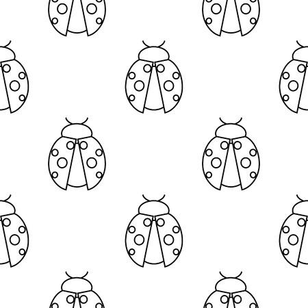 Seamless vector pattern avec des insectes, symétriques fond noir et blanc avec des coccinelles.