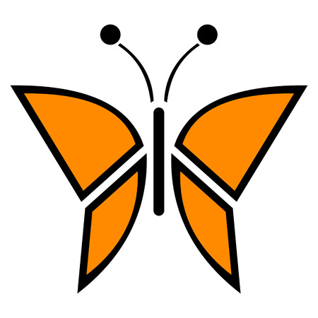 butterfly isolated: Vector illustration of insect, orange icon of butterfly, isolated on the white background Illustration