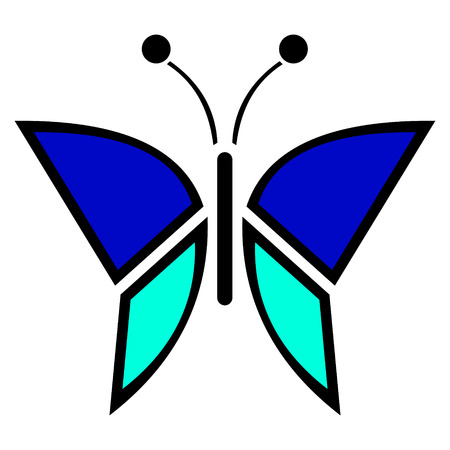 butterfly isolated: Vector illustration of insect, blue icon of butterfly, isolated on the white background