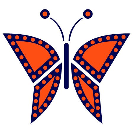 butterfly isolated: Vector illustration of insect, black and red icon of butterfly, isolated on the white background