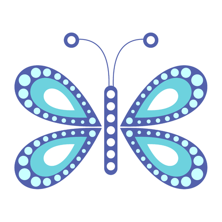 butterfly isolated: Vector illustration of insect, blue butterfly, isolated on the white background
