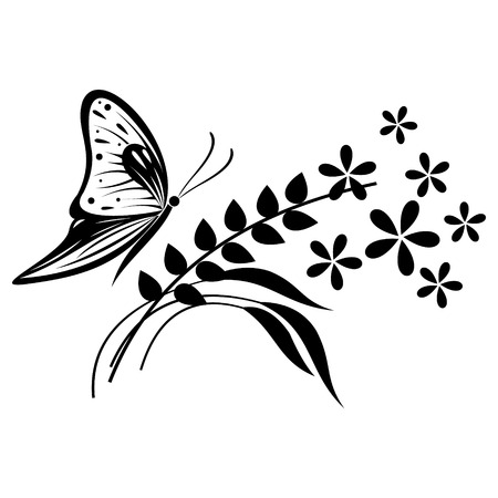 Vector illustration of insect, black and white butterfly, flowers and branches with leaves, isolated on the white background Ilustração