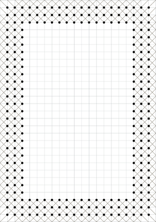 charter: Vector blank for letter, card or charter. White paper form with black decorative geometric border. A4 format size.