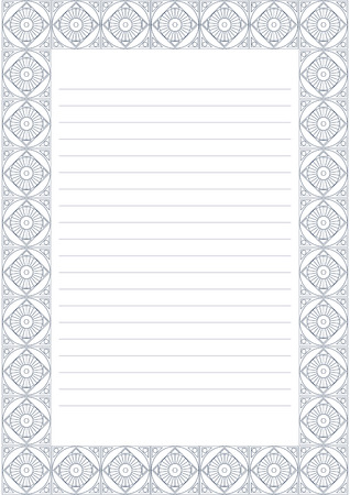 charter: Vector blank for letter, card or charter. White paper form with pastel blue decorative ornamental border. A4 format size. Illustration