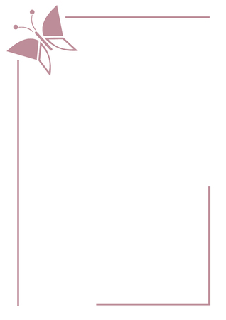Vector blank for letter or greeting card. Simple pink form with frame, lines and butterfly. A4 format. Illustration