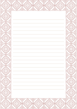 charter: Vector blank for letter, card or charter. White paper form with pastel red decorative ornamental border. A4 format size. Illustration