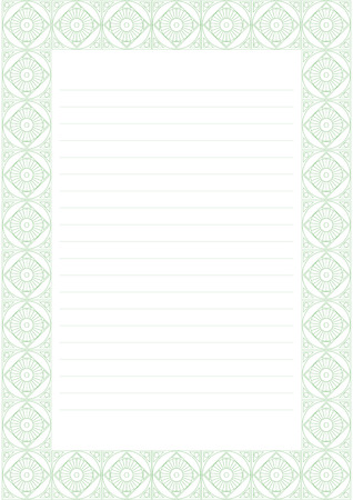 charter: Vector blank for letter, card or charter. White paper form with pastel green decorative ornamental border. A4 format size. Illustration