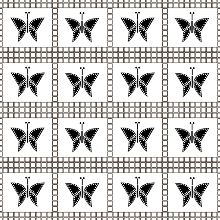 Seamless vector pattern with insects, symmetrical geometric black and white background with butterflies. Decorative repeating ornament