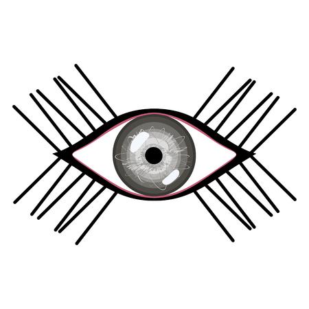 human eye: Vector illustration of human eye with eyelashes. Stylized female grey eye with glares Illustration