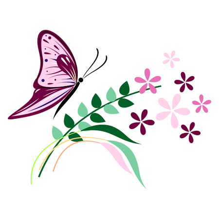 butterfly isolated: Vector illustration of insect, violet butterfly, flowers and branches with leaves, isolated on the white background Illustration