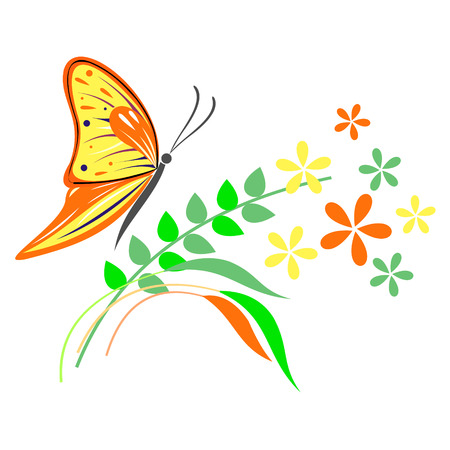 butterfly isolated: Vector illustration of insect, orange butterfly, flowers and branches with leaves, isolated on the white background