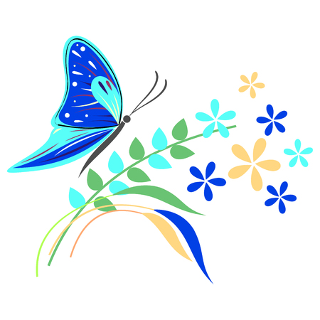 butterfly isolated: Vector illustration of insect, blue butterfly, flowers and branches with leaves, isolated on the white background