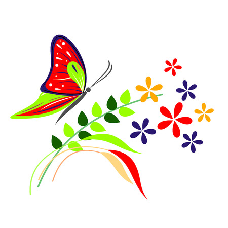 red butterfly: Vector illustration of insect, red butterfly, flowers and branches with leaves, isolated on the white background Illustration