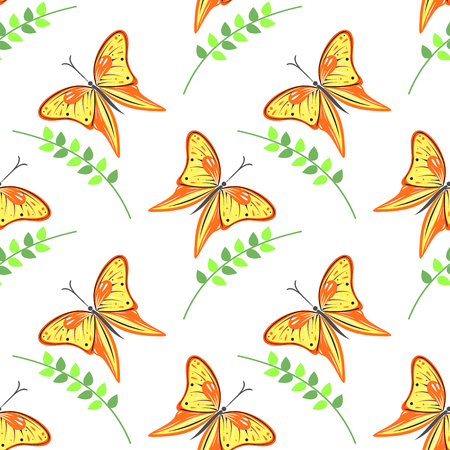 closeup: Seamless vector pattern with insects, colorful background with violet butterflies and branches with leaves om the white backdrop