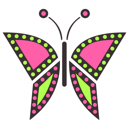 butterfly isolated: Vector illustration of insect, colorful icon of butterfly, isolated on the white background Illustration