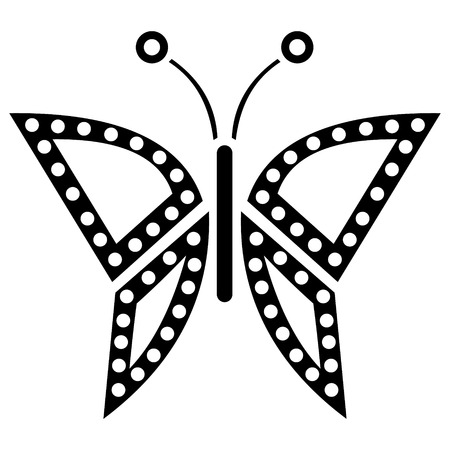 butterfly isolated: Vector illustration of insect, black and white icon of butterfly, isolated on the white background