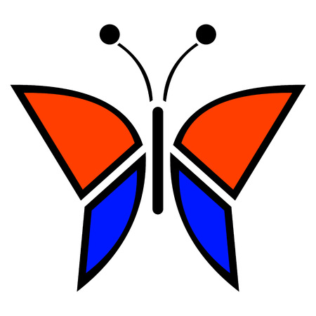 butterfly isolated: Vector illustration of insect, blue and red icon of butterfly, isolated on the white background
